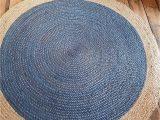 Round Blue Jute Rug 120x120cm Round Circular Blue with Beige Natural Jute Circle
