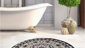 Round Brown Bathroom Rug Black & White Red Blue Brown Mandala Round Home Decor