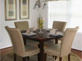 Round Dining Table area Rug Neutral Transitional Dining Room with Round Table and area