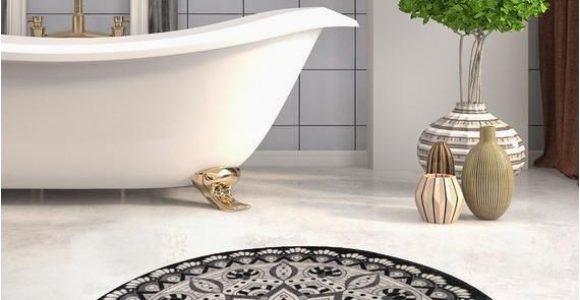 Round Red Bathroom Rug Black & White Red Blue Brown Mandala Round Home Decor