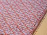 Rug orange and Blue Diamonds forever orange Blue Eco Cotton Loom Hooked Rug Hook & Loom