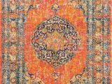 Rug orange and Blue Pamela orange Yellow Blue White area Rug