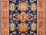 Rug orange and Blue Peach and Navy Geometric Kazak Rug orientalrugs Geometrics