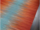 Rug orange and Blue Rugsville Turkish Modern orange Blue Flatweave Wool Rug 150 X 240