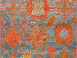 Rug orange and Blue Scatter Size Light Blue Antique Oushak Rug Nazmiyal