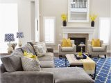 Rug with Blue Accents I Love This Grey Sectional Blue Rug and Yellow Accents if
