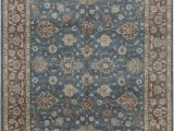 Rugs Brown and Blue Cornwall oriental Hand Knotted 8 X 10 Wool Blue Brown area Rug