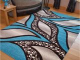 Rugs Brown and Blue Teal Blue Light Brown Cream Modern soft Thick Rugs Small