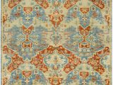 Rust and Blue area Rugs Antolya oriental Hand Knotted Rust Sky Blue area Rug