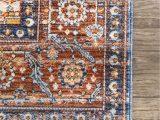 Rust Colored 8×10 area Rug Vintage Floral Jullian Fringe Color Rust Size 8 X 10