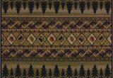 Rustic Cabin Lodge area Rugs Fish Pine Trees Bear Paw Prints Rustic Cabin Lodge area Rug
