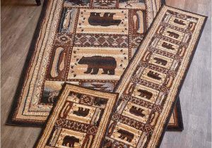 Rustic Log Cabin area Rugs Lodge Accent Runner area Rug Log Cabin Brown Bear Rustic Living Room Home Decor