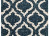 Safavieh Daley Geometric Plush Shag area Rug Slate Blue Ivory Safavieh Hudson Shag area Rugs Sgh284l