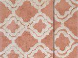 "Salmon Colored Bath Rugs Chesapeake Double Quatrefoil 2pc Salmon & Ivory Bath Rug Set 21""x34"" & 24""x40"""