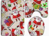 Santa Claus Bathroom Rugs Pudmad Christmas Cartoon Santa Claus 3 Piece Bathroom Rugs