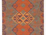 Santa Fe Style area Rugs Rubina southwestern Handwoven Flatweave Wool Brown orange area Rug