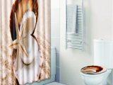 Seashell Bathroom Rug Set 4 Pcs Bathroom Shower Curtain & Floor Mat Set Creative Seashell Pattern Thickened Breathable Bath Curtain Set