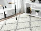 Shanna Off White area Rug Nuloom Contemporary Modern Geometric Shanna Shag area Rug In White and Gray