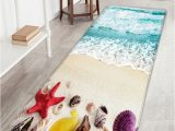 Shell Shaped Bath Rugs Flannel Skidproof Beach Shell Print Rug