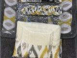 Silver Bath towels and Rugs 18 Piece Bath Rug Silver Grey Gold Print Bathroom Rugs Shower Curtain Rings and towels Sets Keena Yellow