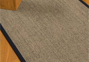 Sisal Rug with Blue Border Mahan Border Hand Woven Gray Midnight Blue area Rug