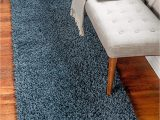 Solid Blue Runner Rug Unique Loom Davos Shag Collection Contemporary soft Cozy solid Shag Marine Blue Runner Rug 2 2 X 6 7
