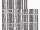 Sunham Home Fashions Bath Rug Sunham 2 Piece Super soft Cascada Home Cher Plaid Non Slip Polyester Bath Rug Grey