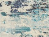 Teal and Blue area Rugs Celestial Ces02 Ivory Teal Blue area Rug