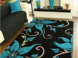 Teal area Rugs for Sale Black Teal Grey Floral Print Thick High Quality Modern