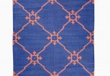 Terracotta and Blue Rug Namoonon Blue & Terracotta Coloured Cotton Dhurrie Rug Mahout Lifestyle