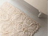 Terry Cloth Bath Rug Frayed Roses Bath Mat
