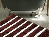 "Thick Plush Bath Rugs Warisi Bold Stripes Collection Designer Plush Microfiber Bath Rug 34"" L X 21"" W Brown Ivory"