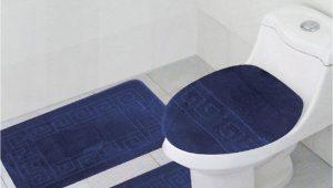 "Three Piece Bathroom Rug Sets 3 Piece Bath Rug Set Pattern Bathroom Rug 20""x32"" Contour Mat 20""x20"" with Lid Cover Sky Blue"