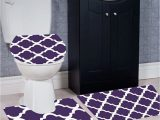 Three Piece Bathroom Rug Sets Wpm 3 Piece Bath Rug Set Diamond Pattern Bathroom Rug 50cmx80cm Contour Mat 50cmx50cm with Lid Cover Purple