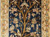 Tree Of Life area Rug 3 X5 Tree Of Life Blue Silk Rug Birds Carpet oriental Design Accent Wall Art