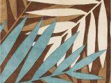 Tropical area Rugs 8 X 10 Wool area Rug Brown Blue Beige 8×10 Fern Leaf Tropical