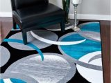 Turquoise and Black area Rug 2062 Turquoise