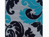 Turquoise and Black area Rug Carli Gray Turquoise Black area Rug