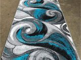 Turquoise and Black area Rug Modern Runner Contemporary area Rug Turquoise Grey Black Grey Design 410 2 Feet X 7 Feet 1 Inch