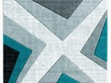 Turquoise and Black area Rug Zonia Geometric Turquoise Black Gray area Rug