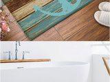 Turquoise and Brown Bathroom Rugs Homecreator Bathroom Rug Vintage Retro Nautical Anchor