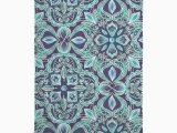 Turquoise Bath towels and Rugs Chalkboard Floral Teal & Navy Bath towel