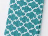 Turquoise Bathroom Rugs and towels Lattice Bath towels