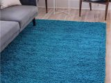 Unique Loom solid Shag area Rug Unique Loom solo solid Shag Collection Modern Plush Turquoise area Rug 4 0 X 6 0