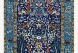 Vintage Blue Persian Rug Blue Antique Persian isfahan Silk Rug with Flowers Animals Print