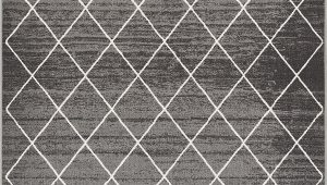 """Washable area Rugs with Rubber Backing Well Woven Non Skid Slip Rubber Back Antibacterial 3×5 3 3"""" X 4 7"""" Diamond Lattice Print Grey Thin Low Pile Machine Washable Indoor Outdoor area Rug"""