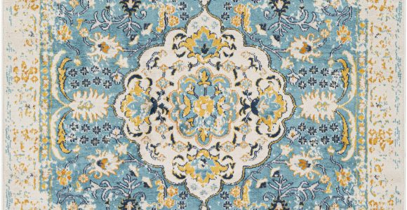 Wayfair Blue and Yellow Rug Leaver oriental Light Blue Yellow area Rug