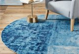 West Elm Blue Rugs West Elm Distressed Rococo Round Rug Dia 183cm Blue at