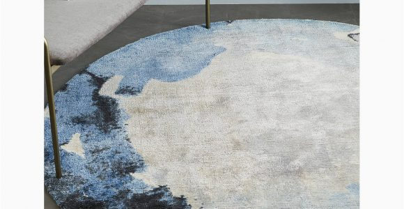West Elm Blue Rugs West Elm Round Watermark Rug Dia 183cm Blue at John Lewis