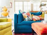 What Color Rug with Blue Couch Colorful Living Room Blue sofa orange Ottoman Yellow